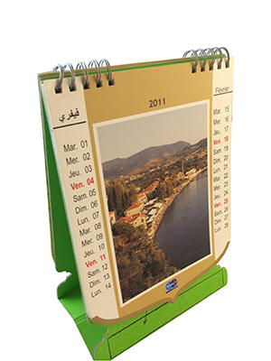 Custom cartoon paper can shrink desk calendar