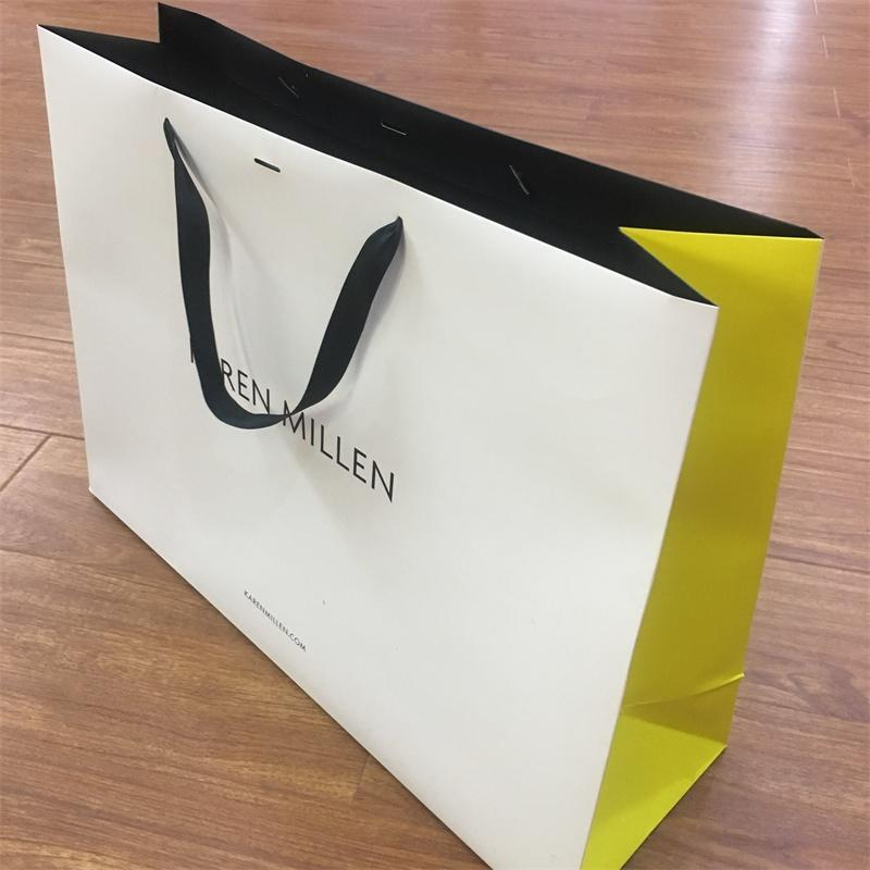 Customized Logo Small Quantity Accept Shopping Paper Bag with Ribbon Handle